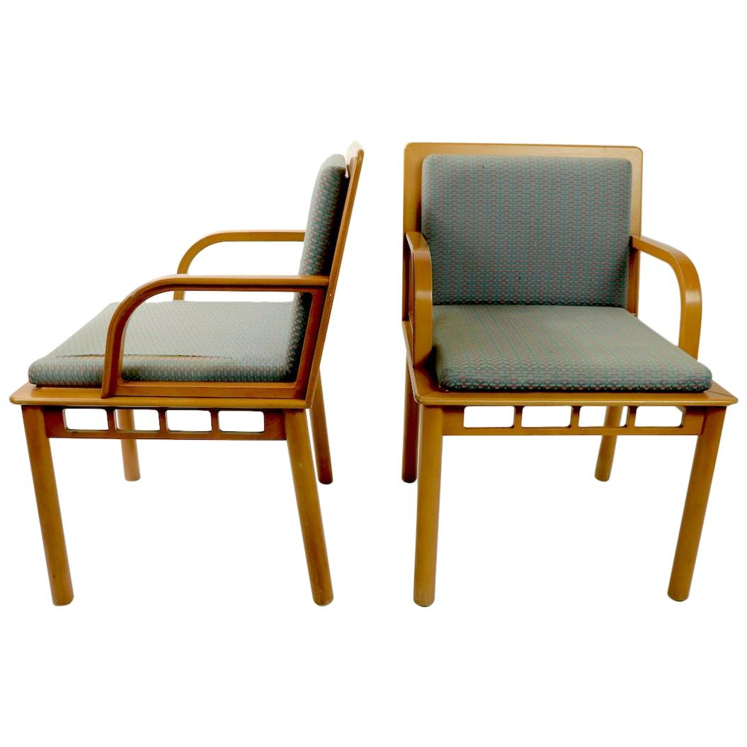 Pair of Constructivist Memphis Armchairs Made in Yugoslavia Distributed by Knoll