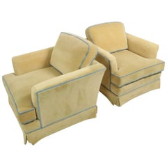 Pair of Cube Club Chairs by Kroehler