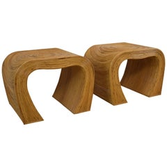 Pr Curved Pencil Reed Organic Modern Side Tables Style of Gabriella Crespi