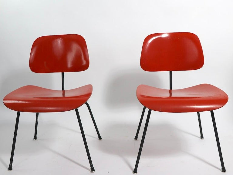 American Pair of Eames DCM Herman Miller Dining Chairs For Sale