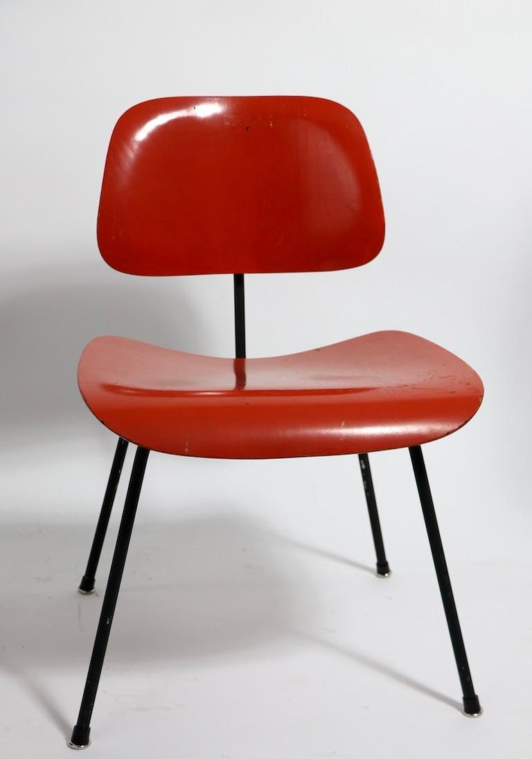 Metal Pair of Eames DCM Herman Miller Dining Chairs For Sale