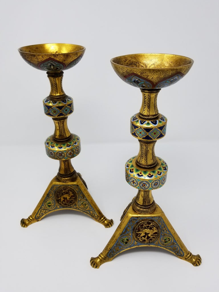 American Pr. E.F. Caldwell Enamel, Bz. Candlesticks, Renaissance Islamic/Orientalist For Sale