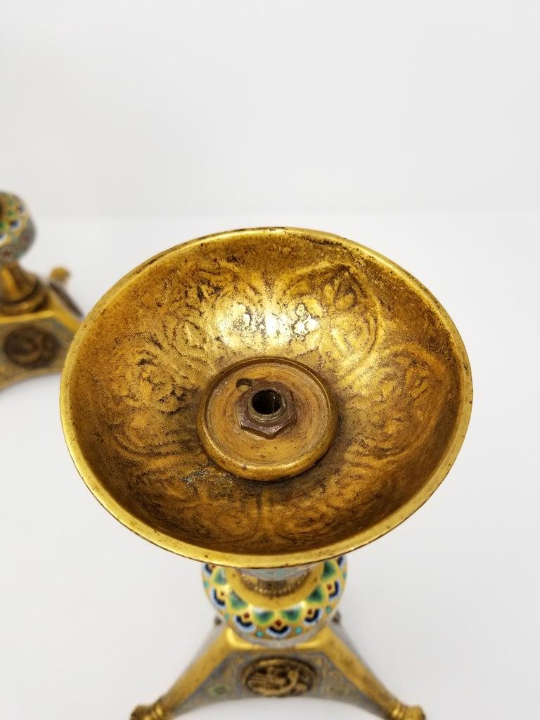 Pr. E.F. Caldwell Enamel, Bz. Candlesticks, Renaissance Islamic/Orientalist For Sale 1