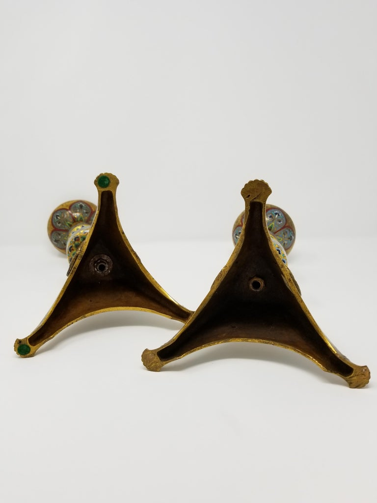 Pr. E.F. Caldwell Enamel, Bz. Candlesticks, Renaissance Islamic/Orientalist For Sale 2