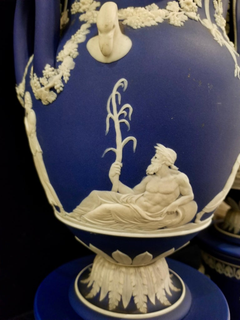 English Jasperware Blue Wedgwood Vases w/ Neoclassical Subjects on Plinths, Pair For Sale 4