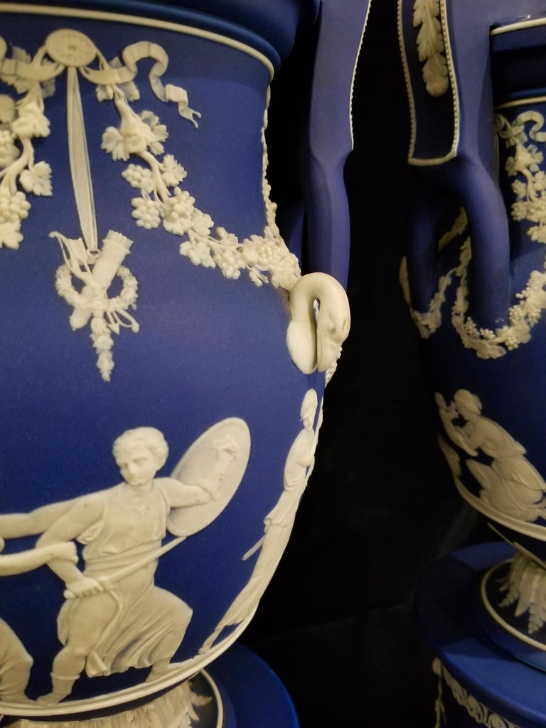 English Jasperware Blue Wedgwood Vases w/ Neoclassical Subjects on Plinths, Pair For Sale 6