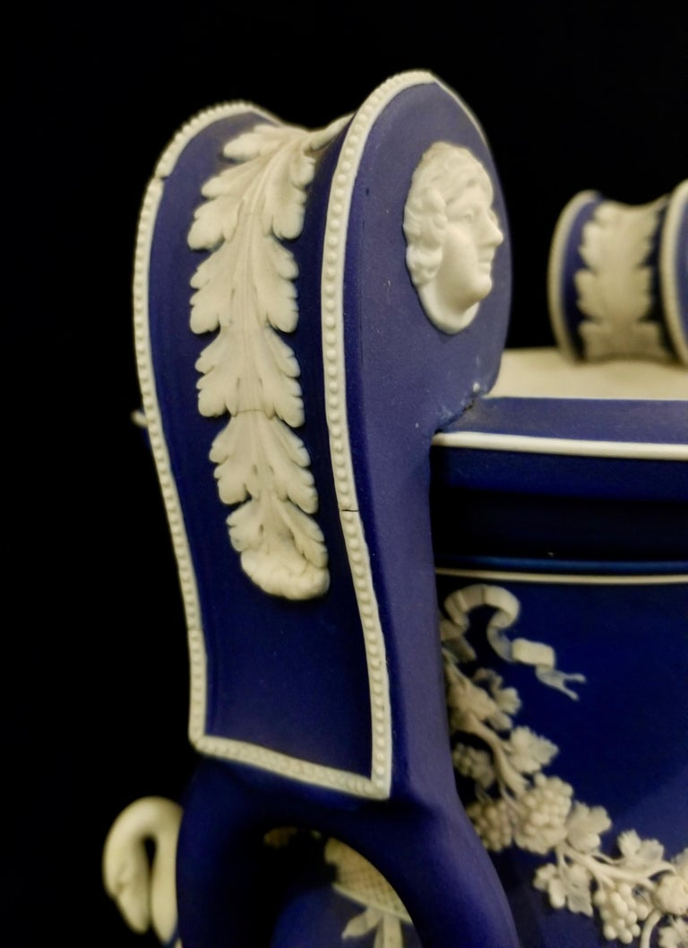 English Jasperware Blue Wedgwood Vases w/ Neoclassical Subjects on Plinths, Pair For Sale 7