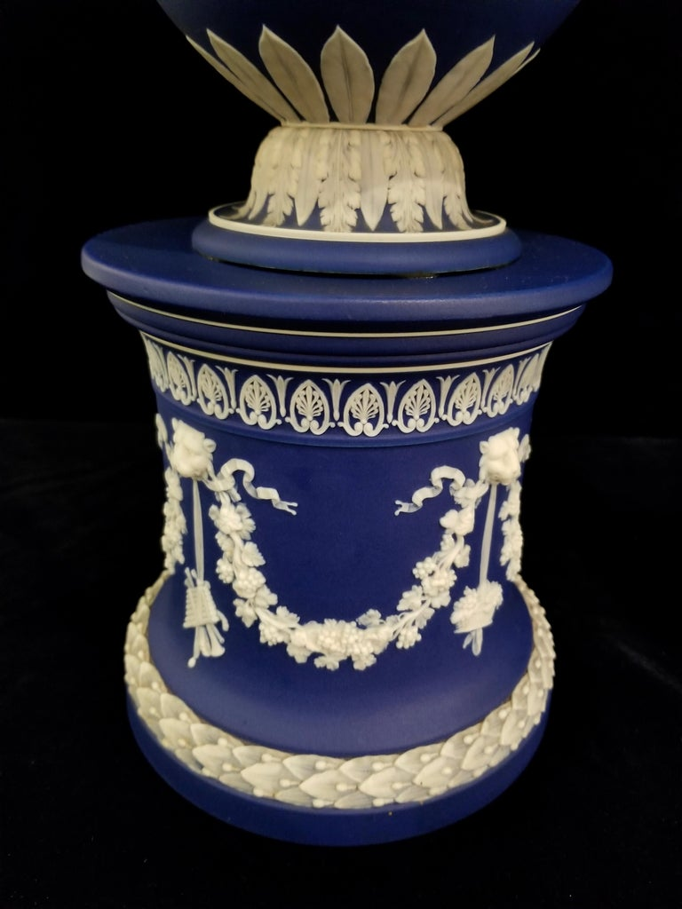 English Jasperware Blue Wedgwood Vases w/ Neoclassical Subjects on Plinths, Pair For Sale 9