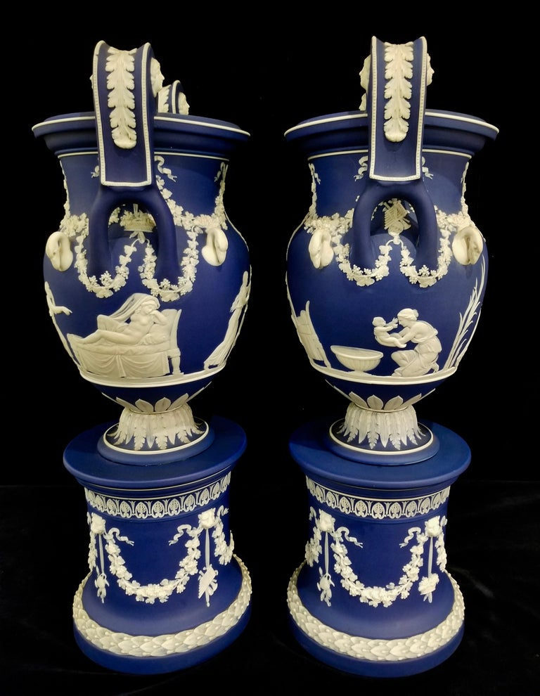 Hand-Carved English Jasperware Blue Wedgwood Vases w/ Neoclassical Subjects on Plinths, Pair For Sale