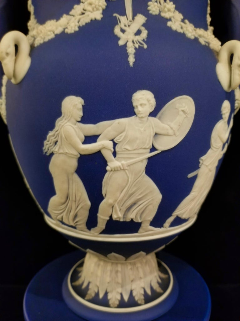 English Jasperware Blue Wedgwood Vases w/ Neoclassical Subjects on Plinths, Pair In Good Condition For Sale In New York, NY