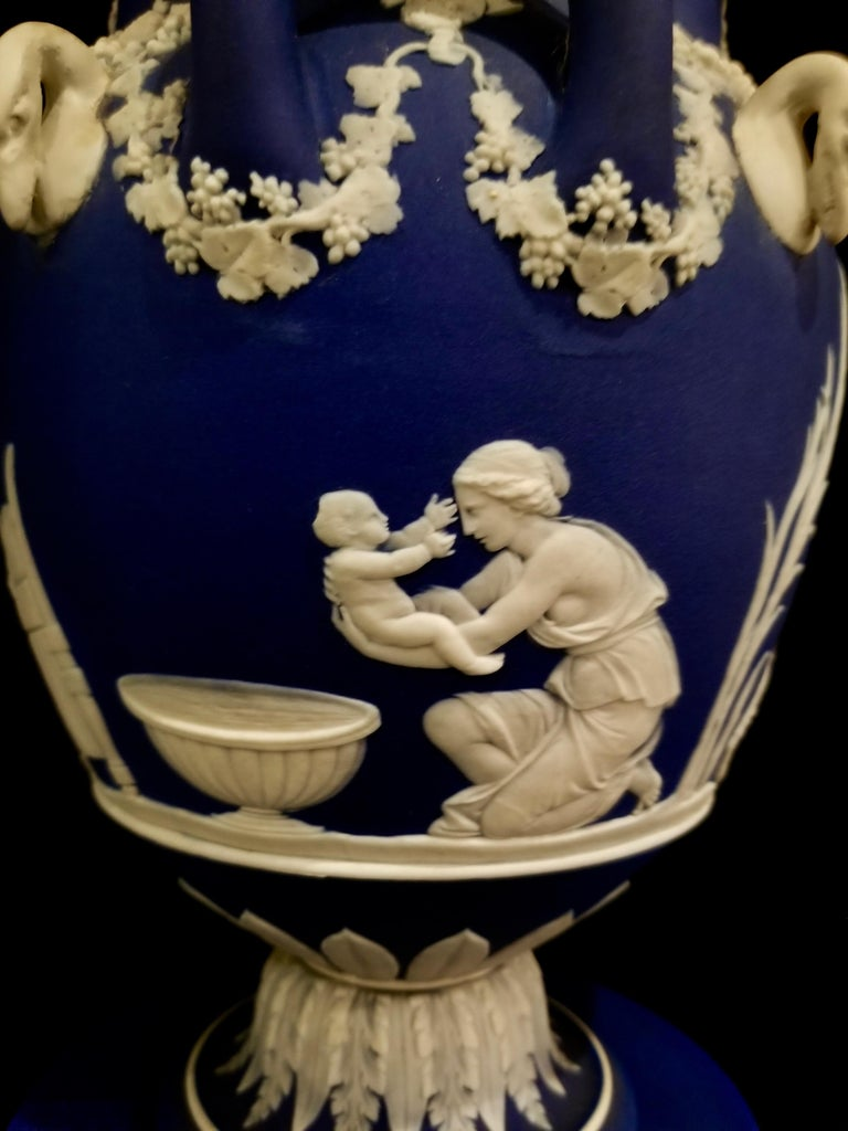 Ceramic English Jasperware Blue Wedgwood Vases w/ Neoclassical Subjects on Plinths, Pair For Sale