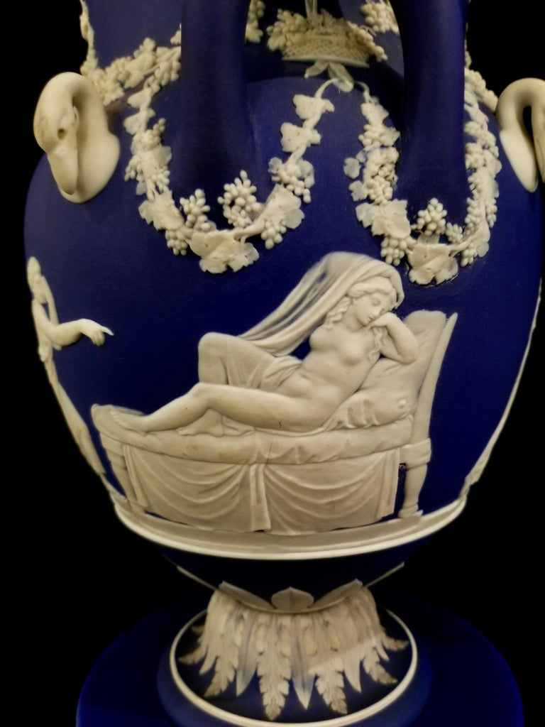 English Jasperware Blue Wedgwood Vases w/ Neoclassical Subjects on Plinths, Pair For Sale 1