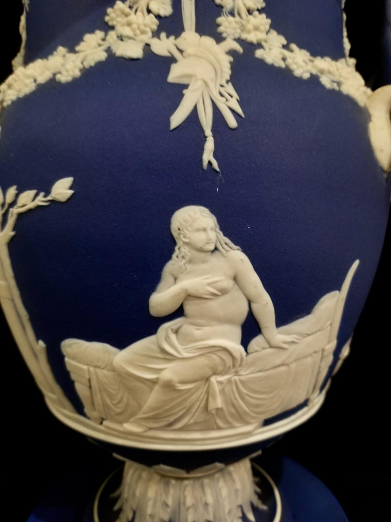 English Jasperware Blue Wedgwood Vases w/ Neoclassical Subjects on Plinths, Pair For Sale 2