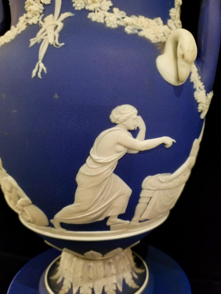 English Jasperware Blue Wedgwood Vases w/ Neoclassical Subjects on Plinths, Pair For Sale 3