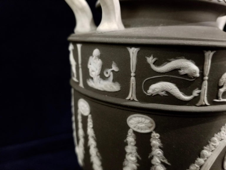 Pair of English Jasperware Lidded Black-Ground Wedgwood Vases with Zodiac Panels For Sale 1