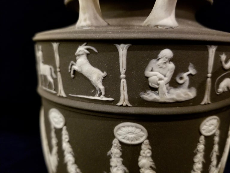 Pair of English Jasperware Lidded Black-Ground Wedgwood Vases with Zodiac Panels For Sale 2