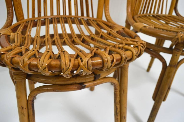 Pair of Exaggerated Form High Back Bamboo Chairs after Albini For Sale 4