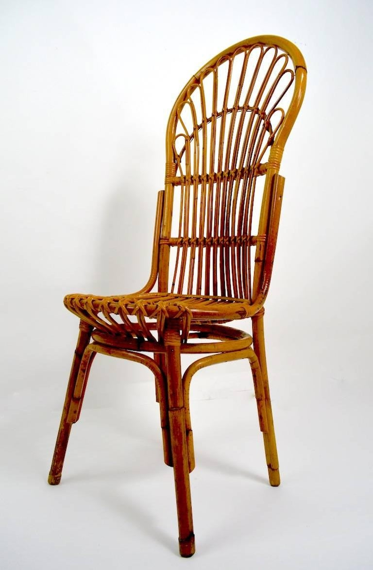Pair Of Exaggerated Form High Back Bamboo Chairs After