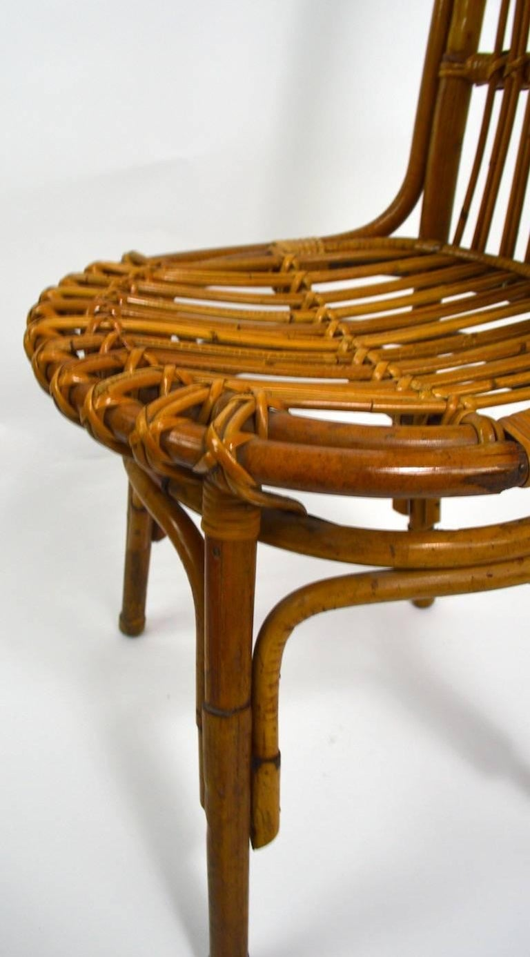 Italian Pair of Exaggerated Form High Back Bamboo Chairs after Albini For Sale