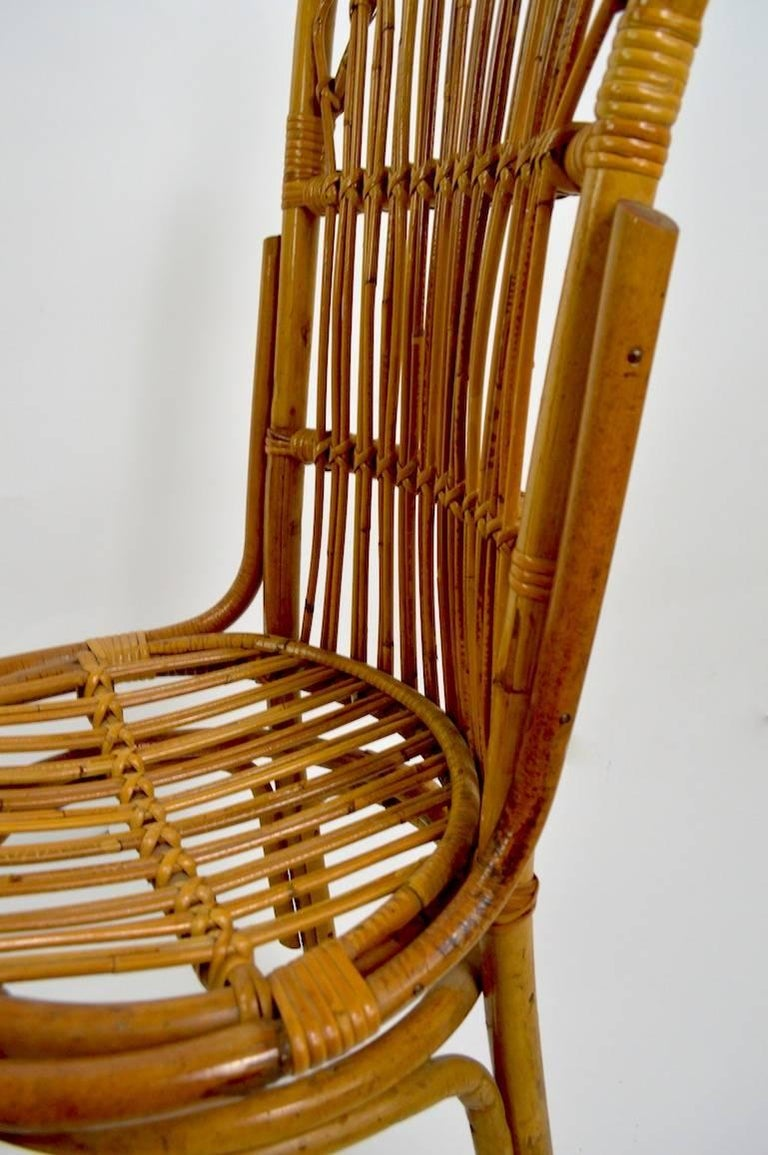 Pair of Exaggerated Form High Back Bamboo Chairs after Albini In Excellent Condition For Sale In New York, NY