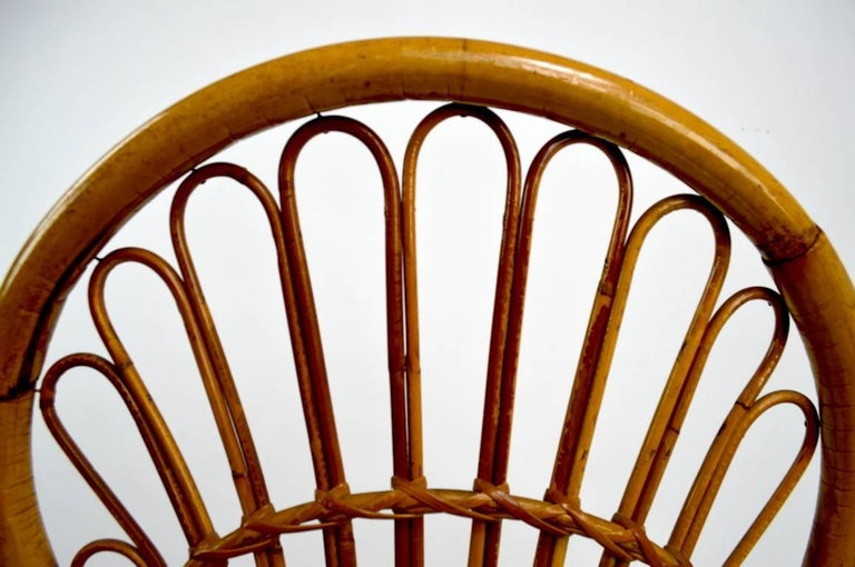 Pair of Exaggerated Form High Back Bamboo Chairs after Albini For Sale 2