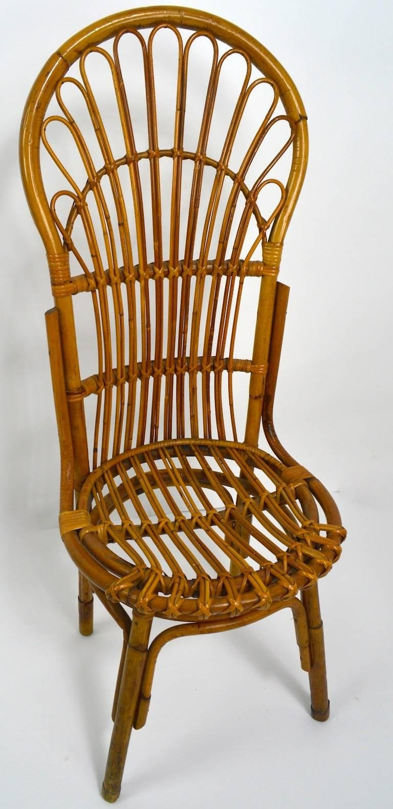 Pair of Exaggerated Form High Back Bamboo Chairs after Albini For Sale 3