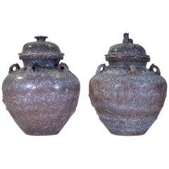 Pr Faux Swedish Porphyry Ceramic Covered Vases w/ Sea Creatures Design in Relief