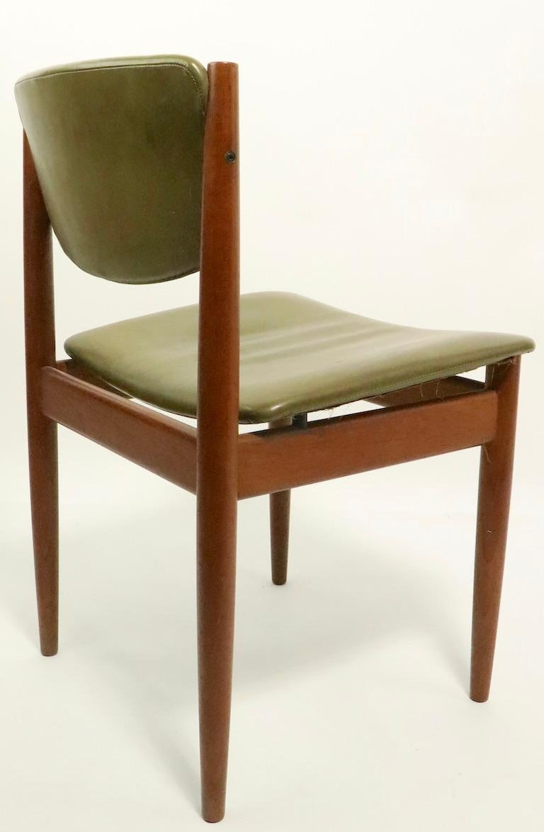 Leather Pair of Finn Juhl for France and Son Dining Chairs For Sale