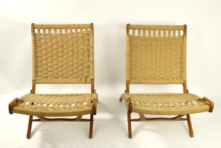 Pair of Folding Scissor Chairs Made in Italy after Wegner For Sale 4