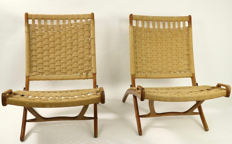 Pair of Folding Scissor Chairs Made in Italy after Wegner For Sale 5