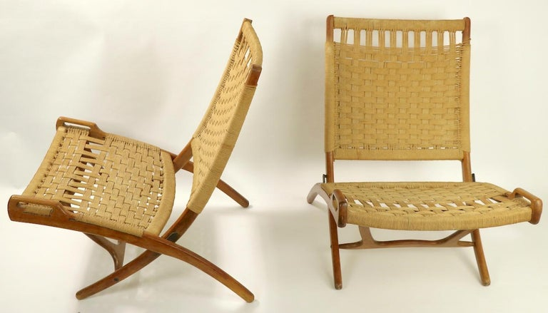 Pair of Folding Scissor Chairs Made in Italy after Wegner For Sale 8