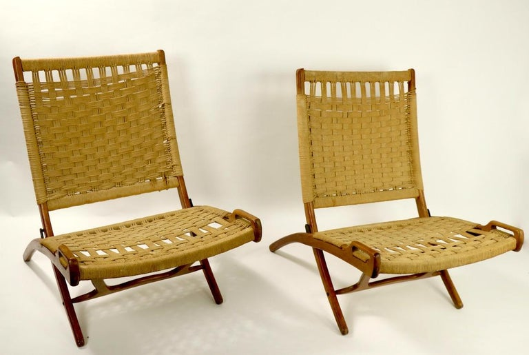 Pair of Folding Scissor Chairs Made in Italy after Wegner For Sale 9
