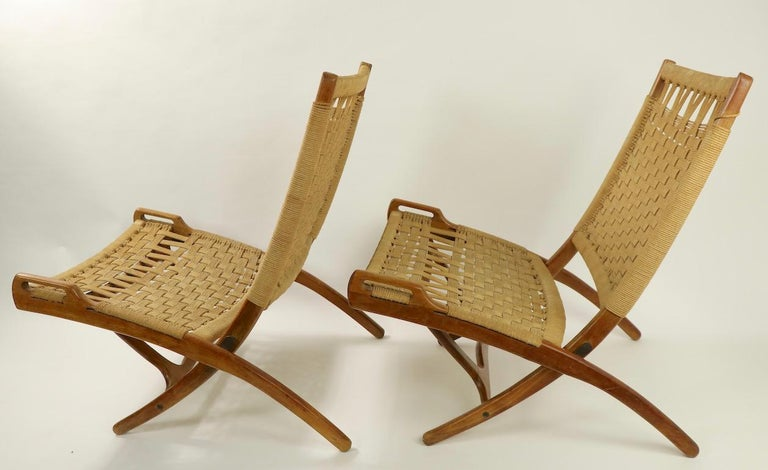 Pair of Folding Scissor Chairs Made in Italy after Wegner For Sale 11