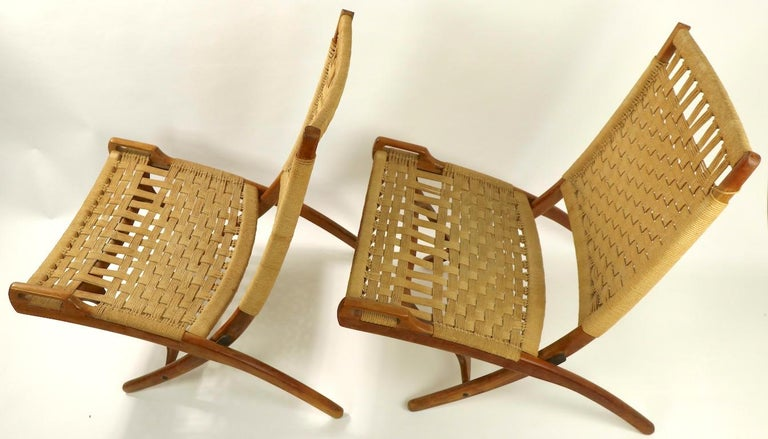 Pair of Folding Scissor Chairs Made in Italy after Wegner For Sale 12
