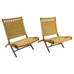 Pair of Folding Scissor Chairs Made in Italy after Wegner