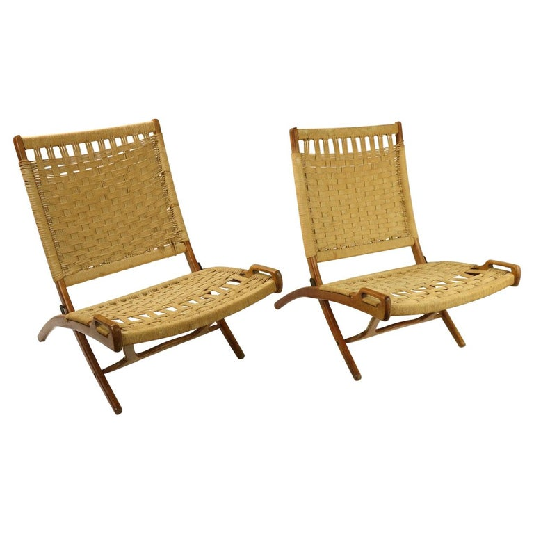 Pair of Folding Scissor Chairs Made in Italy after Wegner For Sale