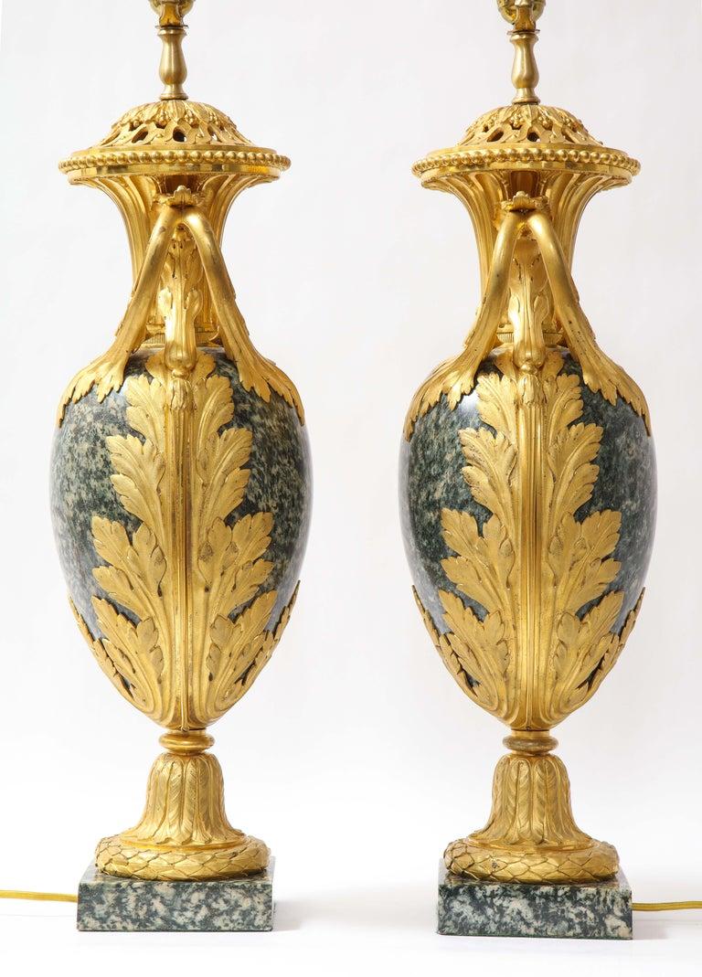 Pr French 19th C. Dore Bronze Mntd Green Marble/Porphyry Lamps, Att. H. Dasson For Sale 4