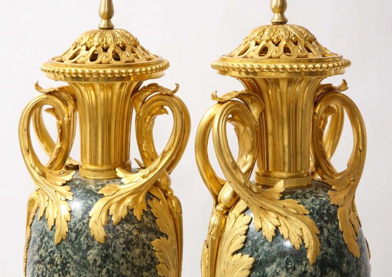 Pr French 19th C. Dore Bronze Mntd Green Marble/Porphyry Lamps, Att. H. Dasson For Sale 5