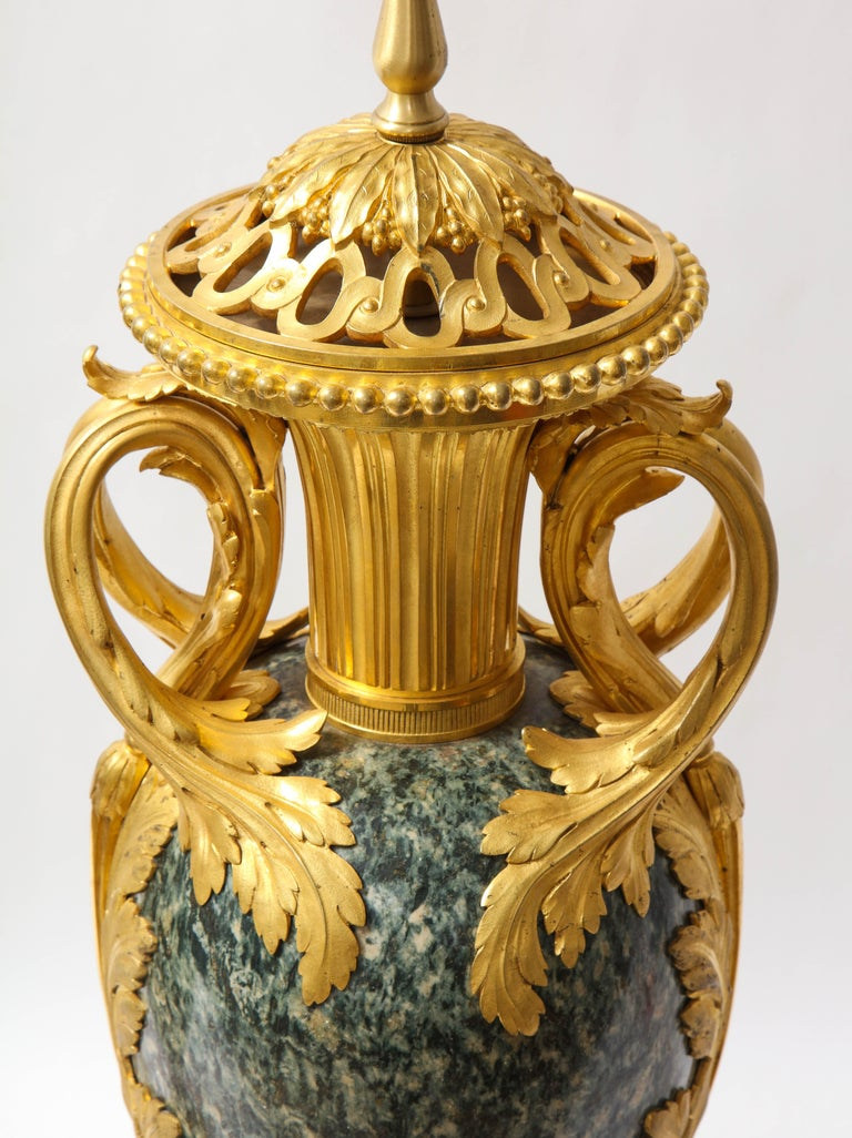 Pr French 19th C. Dore Bronze Mntd Green Marble/Porphyry Lamps, Att. H. Dasson For Sale 6