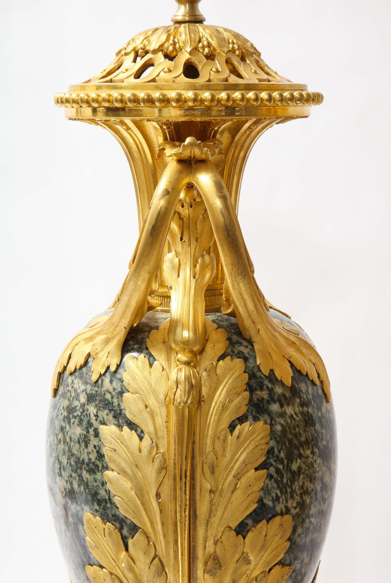 Pr French 19th C. Dore Bronze Mntd Green Marble/Porphyry Lamps, Att. H. Dasson For Sale 7