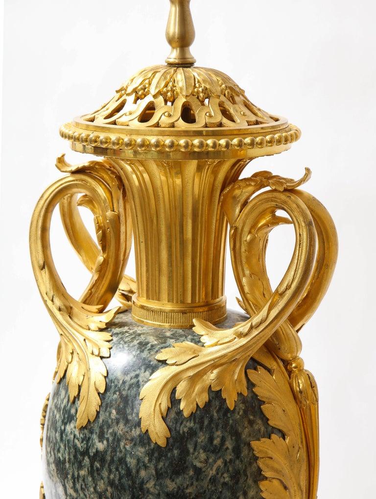 Pr French 19th C. Dore Bronze Mntd Green Marble/Porphyry Lamps, Att. H. Dasson For Sale 8