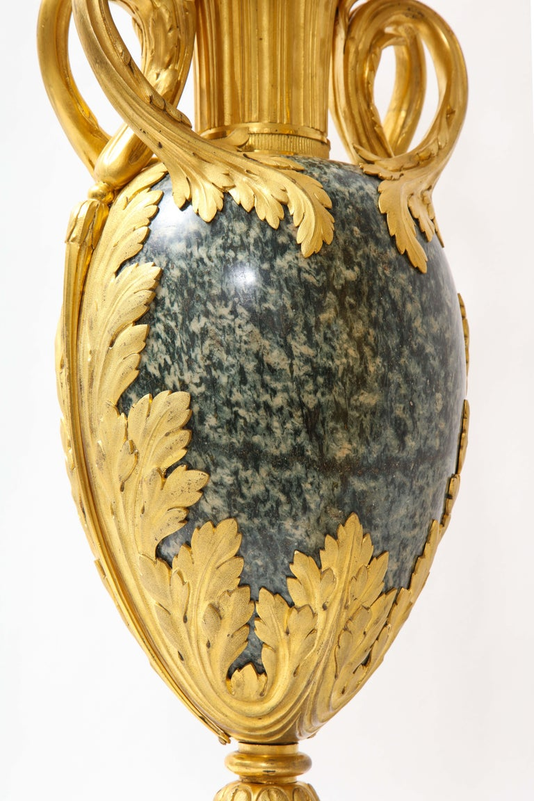 Pr French 19th C. Dore Bronze Mntd Green Marble/Porphyry Lamps, Att. H. Dasson For Sale 9