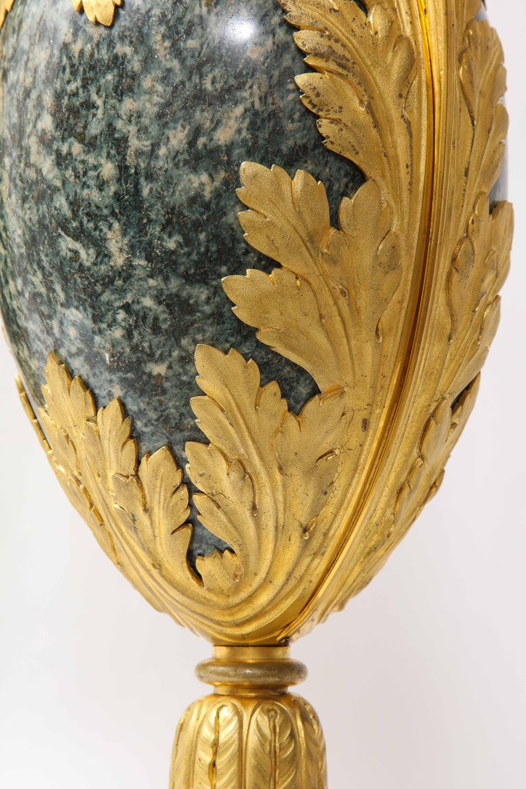 Pr French 19th C. Dore Bronze Mntd Green Marble/Porphyry Lamps, Att. H. Dasson For Sale 10