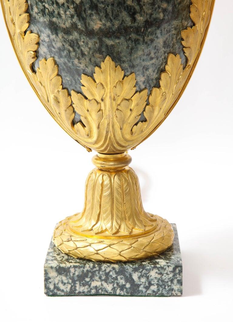 Pr French 19th C. Dore Bronze Mntd Green Marble/Porphyry Lamps, Att. H. Dasson For Sale 11
