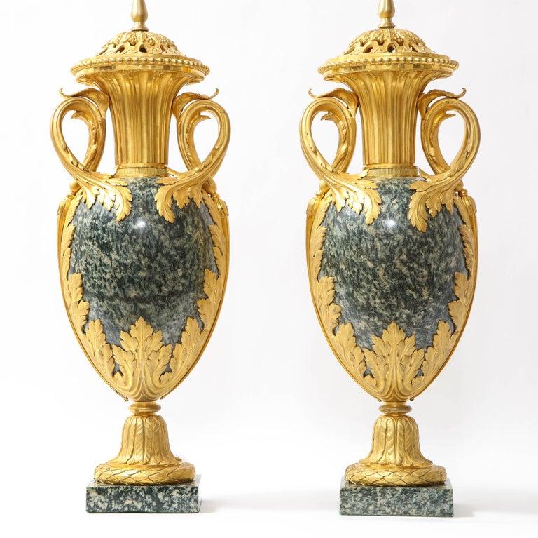 Louis XVI Pr French 19th C. Dore Bronze Mntd Green Marble/Porphyry Lamps, Att. H. Dasson For Sale