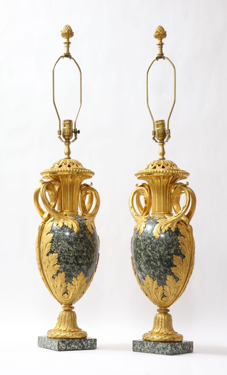Hand-Carved Pr French 19th C. Dore Bronze Mntd Green Marble/Porphyry Lamps, Att. H. Dasson For Sale