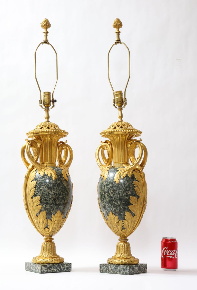 Pr French 19th C. Dore Bronze Mntd Green Marble/Porphyry Lamps, Att. H. Dasson In Good Condition For Sale In New York, NY