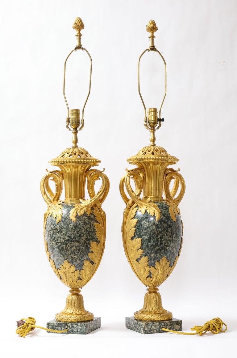 Late 19th Century Pr French 19th C. Dore Bronze Mntd Green Marble/Porphyry Lamps, Att. H. Dasson For Sale