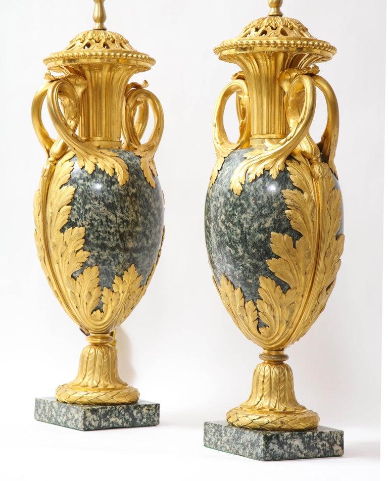 Pr French 19th C. Dore Bronze Mntd Green Marble/Porphyry Lamps, Att. H. Dasson For Sale 1