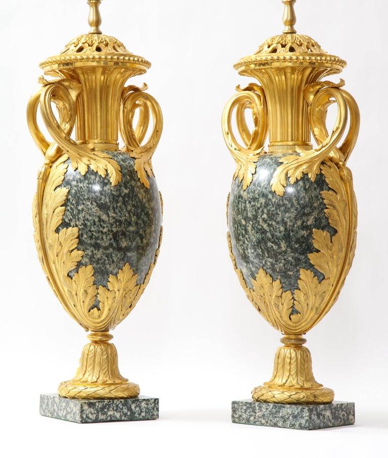 Pr French 19th C. Dore Bronze Mntd Green Marble/Porphyry Lamps, Att. H. Dasson For Sale 2